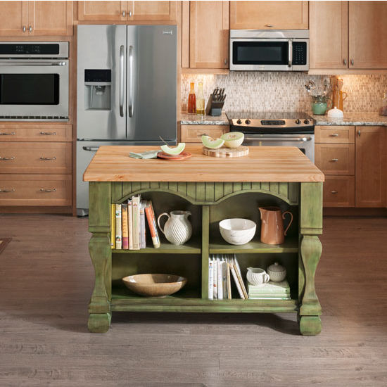 Jeffrey Alexander Tuscan Kitchen Island with Hard Maple Butcher Block Top, Aqua Green