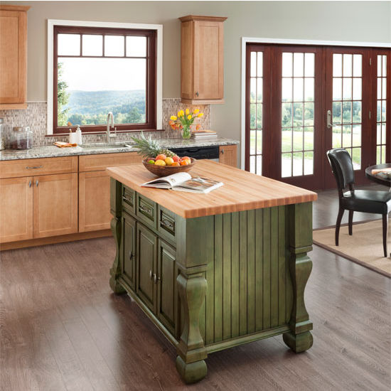 Jeffrey Alexander Tuscan Kitchen Island With Hard Maple Edge Grain