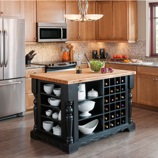 Jeffrey Alexander Entertaining Kitchen Island with Hard Maple Butcher Block Top, Distressed Black