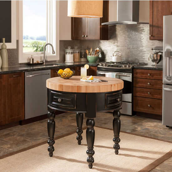 Jeffrey Alexander Round Petite Kitchen Island with Butcher Block Top, Distressed Black