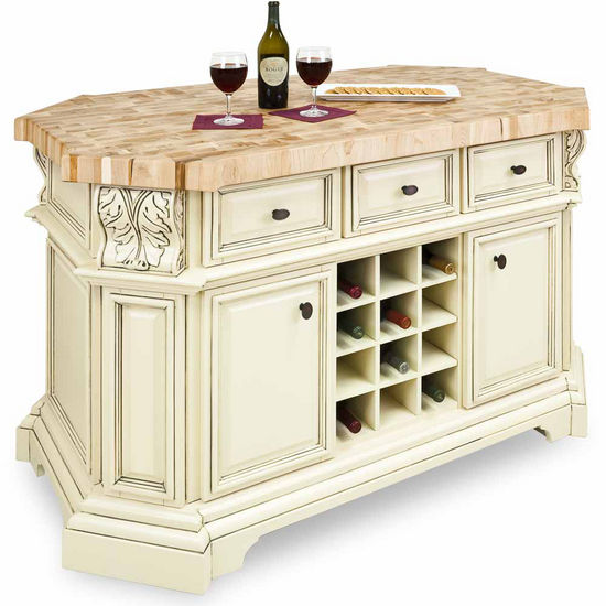 Jeffrey Alexander Kitchen Island, Antique White