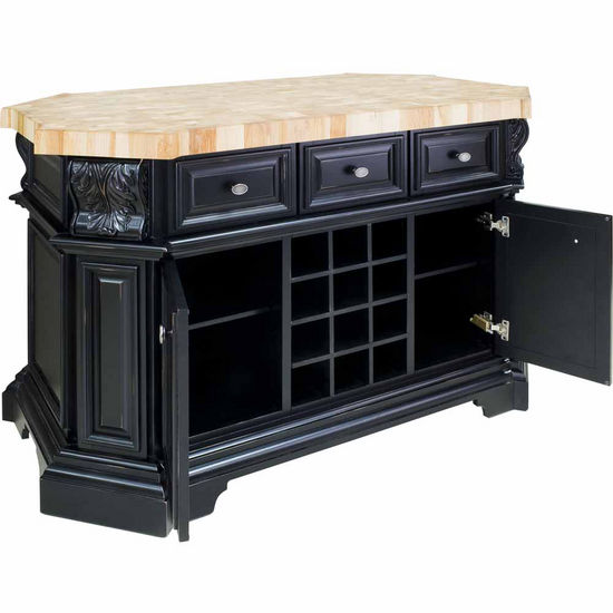 Jeffrey Alexander Acanthus Kitchen Island with Hard Maple Butcher Block Top in Antique White and ...
