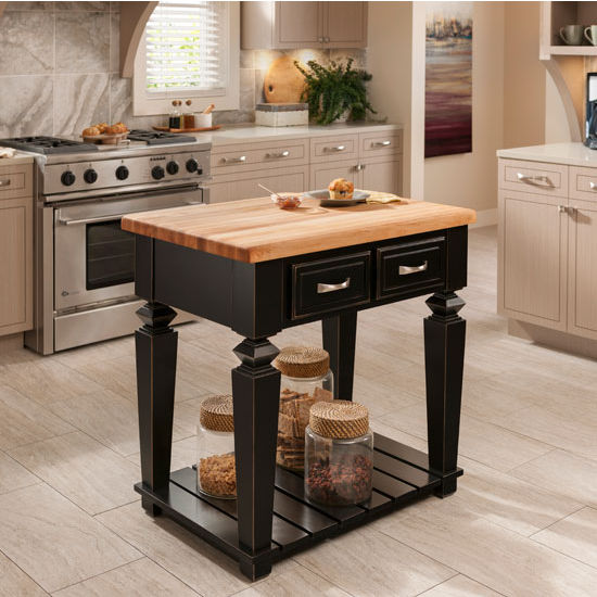 Jeffrey Alexander Bungalow Petite Kitchen Island with Hard Maple Butcher Block Top, Aged Black