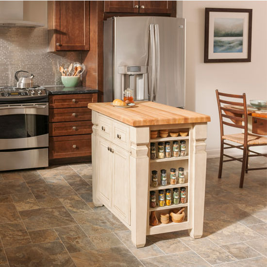 Jeffrey Alexander Loft Kitchen Island with Hard Maple Butcher Block Top,  French White