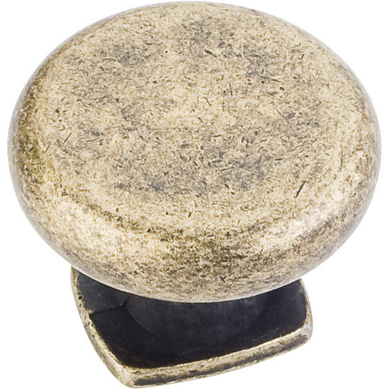 "Jeffrey Alexander Belcastel 1 Collection 1-3/8"" Diameter Forged Look Flat Bottom Cabinet Knob in Distressed Antique Brass"