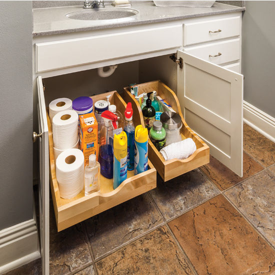 "Preassembled Vanity High Back Rollout Drawer Shelf System for 12"" Openings, 10-1/16""W x 18-7/16""D x 9""H, with 18"" Undermount Soft Closing Drawer Slides"