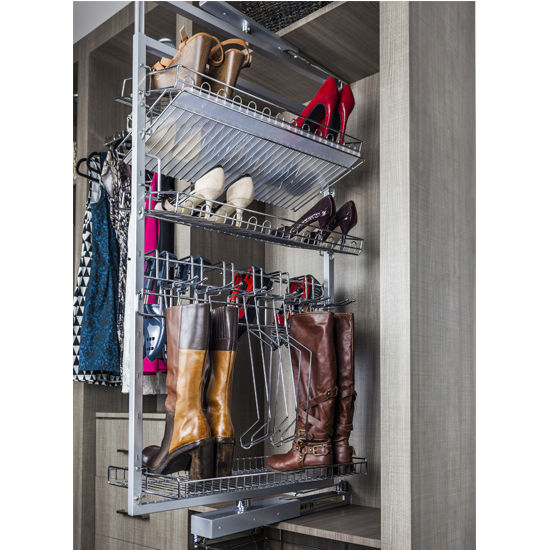 Adjustable Height Rotating Shoe And Boot Rack For Closet