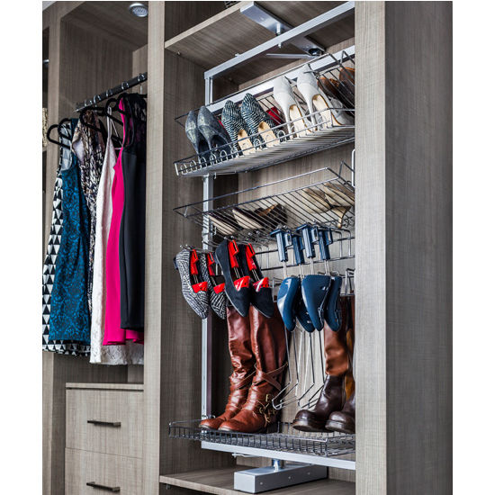 Rotating Shoe And Boot Rack For Closet System, Polished Chrome Wire With  Silver Powdercoat Frame