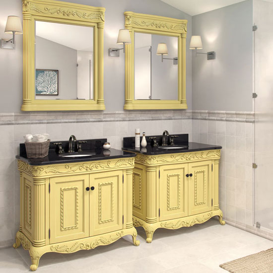 Jeffrey Alexander Antique White Ornate Bathroom Vanity With Black Granite  Top U0026 Sink