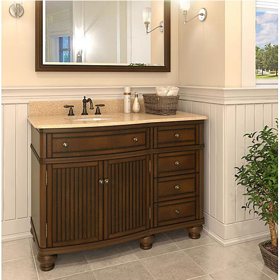 Jeffrey Alexander Compton Painted Walnut Bath Elements Vanity with Cream Marble Top & Sink