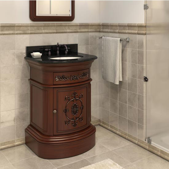 Jeffrey Alexander Emilia Bath Elements Vanity with Granite Top & Sink, Merlot Painted