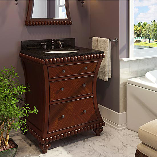Jeffrey Alexander Rosewood Beaded Bathroom Vanity with Black Granite Top & Sink