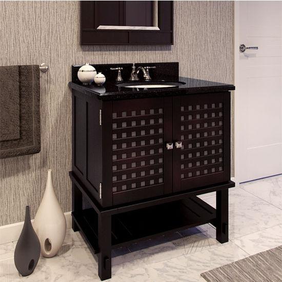 Jeffrey Alexander Manhattan Espresso Bathroom Vanity with Black Granite Top & Sink