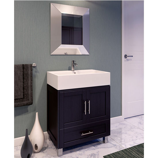 Jeffrey Alexander York Espresso Bathroom Vanity With White Vessel Sink