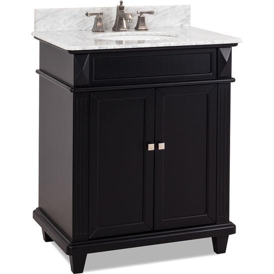 Jeffrey Alexander Douglas Painted Black Bathroom Vanity with White Marble Top & Sink