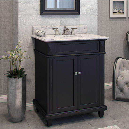 Jeffrey Alexander Douglas Painted Black Bathroom Vanity with White Marble Top & Sink