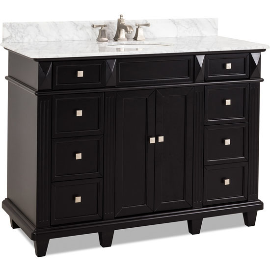 Jeffrey Alexander Douglas Painted Black Bathroom Vanity With White Marble To