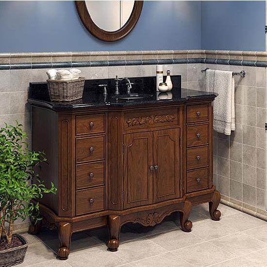 Jeffrey Alexander Clairemont Bath Elements Vanity With Granite Top Sink Painted Nutmeg