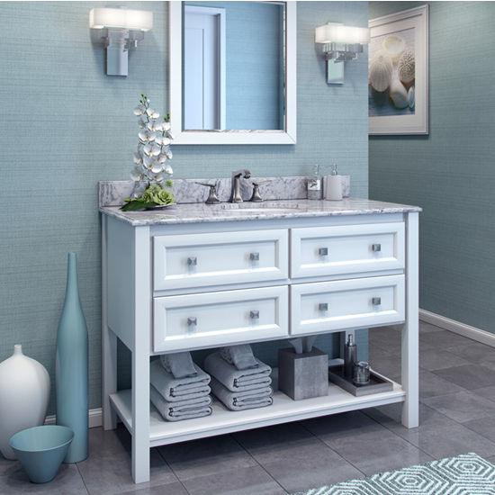 Jeffrey Alexander Adler Painted White Bath Elements Vanity with Granite Top & Sink