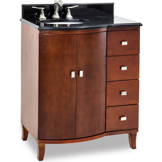 Jeffrey Alexander Mahogany Modern Bathroom Vanity with Black Granite Top & Sink