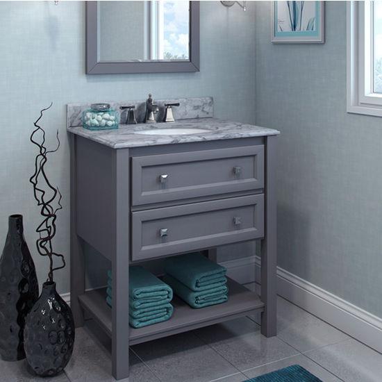Jeffrey Alexander Adler Bath Elements Bathroom Vanity with White Marble Top & Sink, Grey Finish
