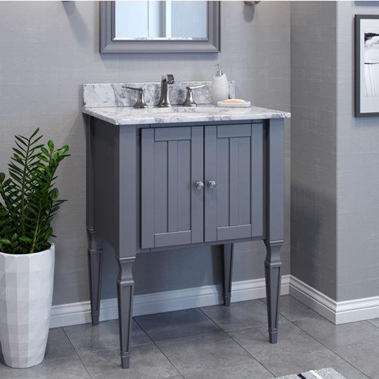 Jeffrey Alexander Jensen Bath Elements Bathroom Vanity with White Marble Top & Sink, Grey Finish