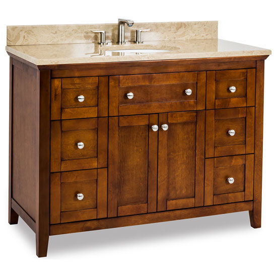 Chatham Shaker Bathroom Vanity with Emperador Light Marble Top ...