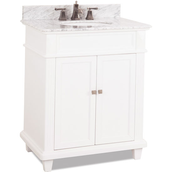 Jeffrey Alexander Douglas Painted White Bathroom Vanity with White Marble Top & Sink