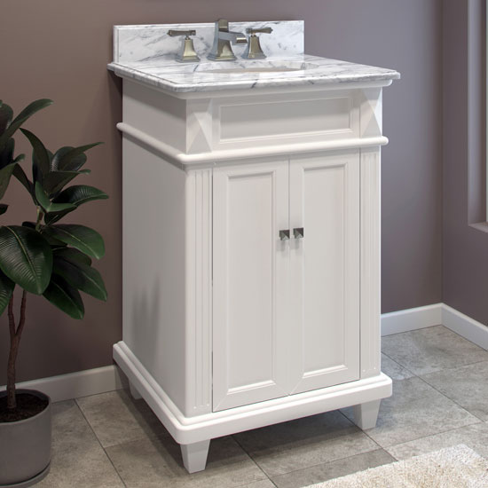 Jeffrey Alexander Douglas Bath Elements Painted White Vanity with White Marble Top & Sink