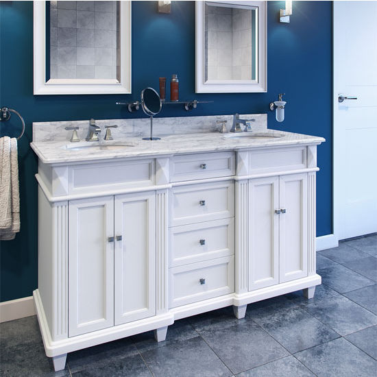Jeffrey Alexander Douglas Painted White Double Base Bathroom Vanity with White Marble Top & Sink