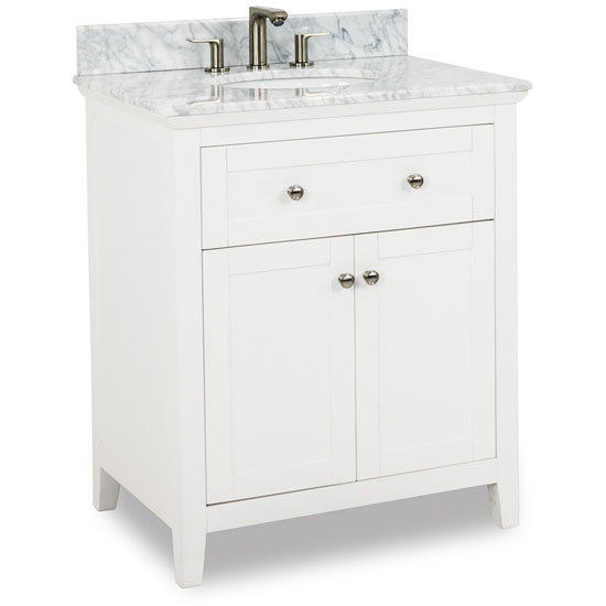 "Jeffrey Alexander Chatham Shaker Bathroom Vanity with White Marble Top & Sink, Painted White Finish, 30""W x 22""D x 36""H"