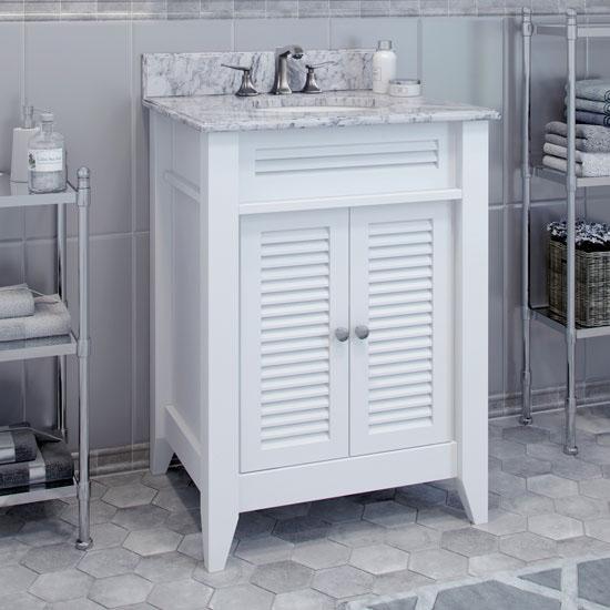 Jeffrey Alexander Lindley White Bath Elements Vanity with Cream Marble Top & Sink