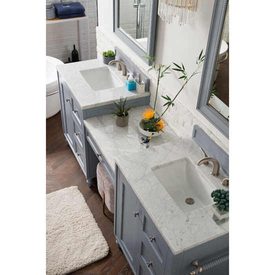 Silver Gray 3cm Carrara Marble Top Overhead View