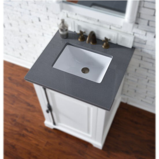 "26"" Wide, 3cm Shadow Gray Quartz, Single Sink"