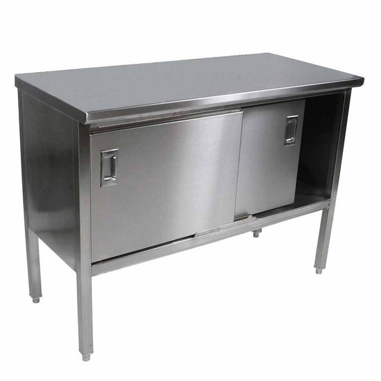 John Boos Stainless Steel Enclosed Table w/ Sliding Doors