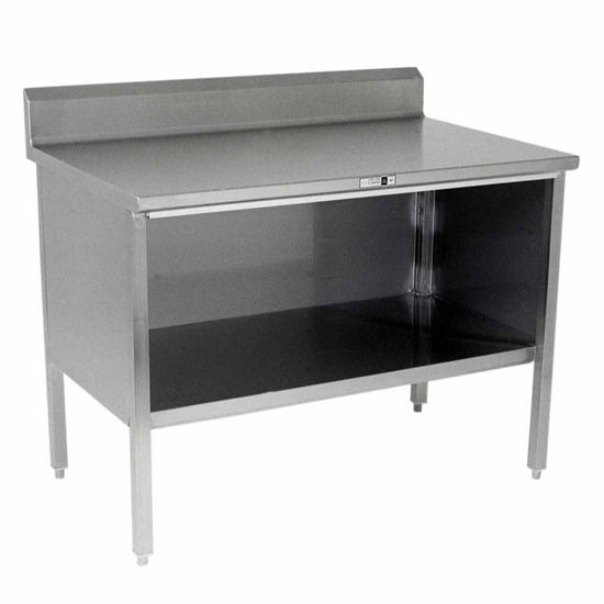 "John Boos Stainless Steel Enclosed Table w/ Open Front & 6"" Riser"