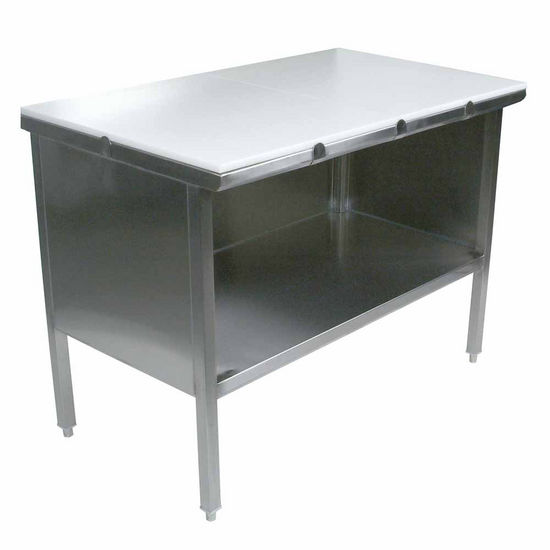 "John Boos Stainless Steel Enclosed Table w/ 3/4"" Thick High Density Polyethylene Top, Open Front"
