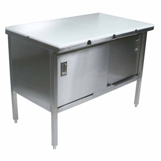 "John Boos Stainless Steel Enclosed Table w/ 3/4"" Thick High Density Polyethylene Top, Sliding Doors"