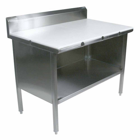 "John Boos Stainless Steel Enclosed Table w/ 3/4"" Thick High Density Polyethylene Top, Open Front & 6"" Riser"