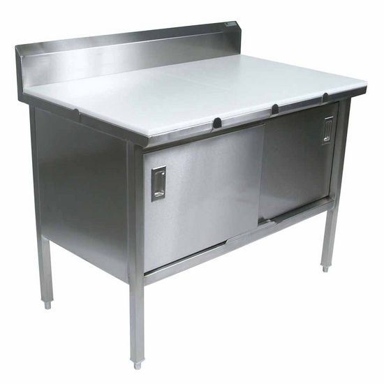 "John Boos Stainless Steel Enclosed Table w/ 3/4"" Thick High Density Polyethylene Top, Sliding Doors & 6"" Riser"