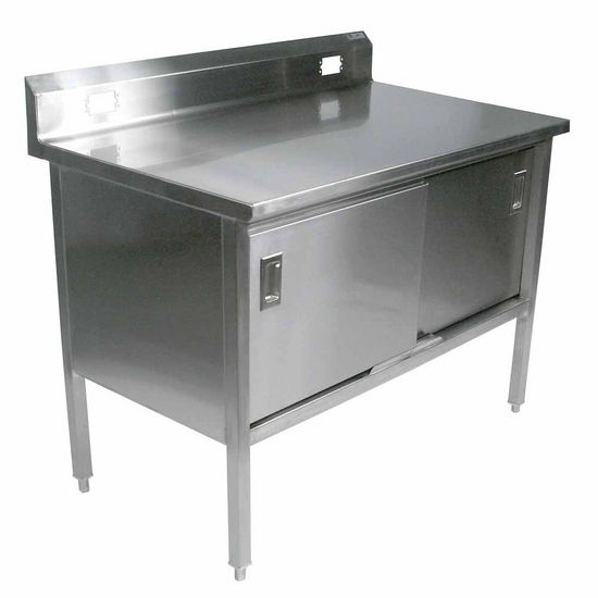 "John Boos Stainless Steel Enclosed Table w/ Electrical Outlet Cutouts, Sliding Doors & 6"" Riser"