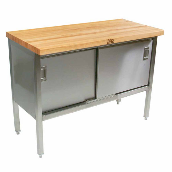 "John Boos Stainless Steel Enclosed Table w/ 1-3/4"" Thick Hard Rock Maple Top & Sliding Doors"