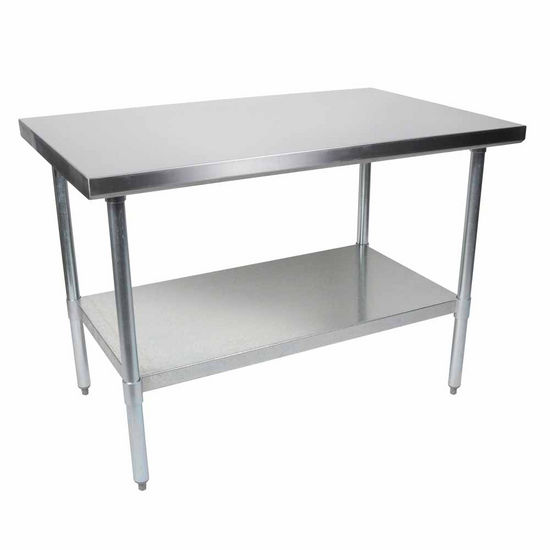 John Boos Economy Work Table with Stainless Steel Flat Top, Galvanized Base & Shelf