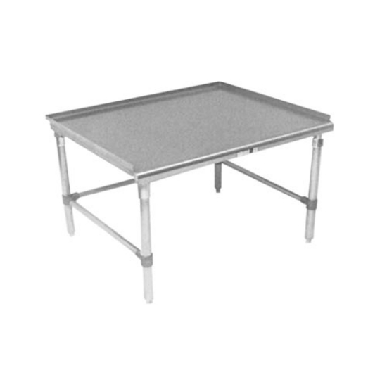 "John Boos Equipment Stands Stainless Steel Work Table w/ 1-1/2"" Turn-up Riser on Rear & Both Ends & 7/8"" Radius Front Edge"