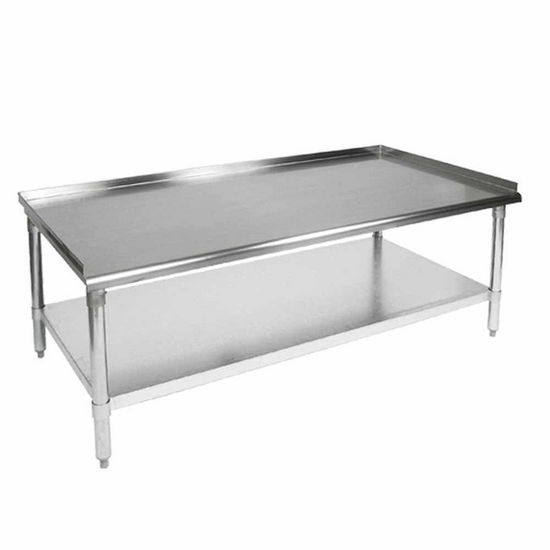 "John Boos Equipment Stands Stainless Steel Work Table w/ 1-1/2"" Turn-up Riser on Rear & Both Ends & 7/8"" Radius Front Edge, with Lower Shelf"