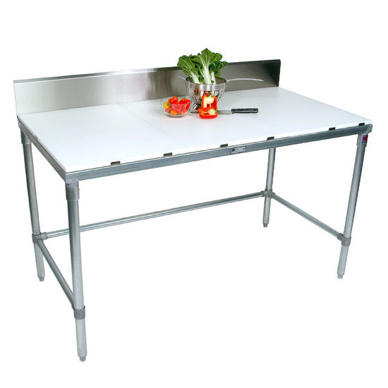 "John Boos Poly Top Work Table w/ Galvanized Base & Bracing & 6"" High Rear Riser"