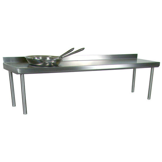 John Boos Stainless Steel Overshelf - For Maple Top Tables, Single Overshelf, Rear Mount