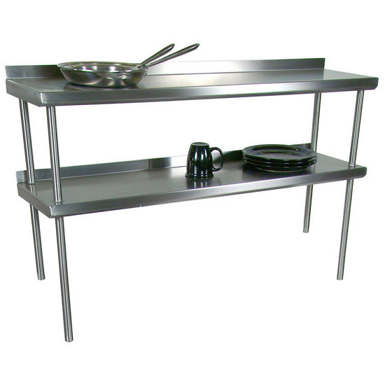 John Boos Stainless Steel Overshelf   For Stainless Steel Top Tables,  Double Overshelf, Center