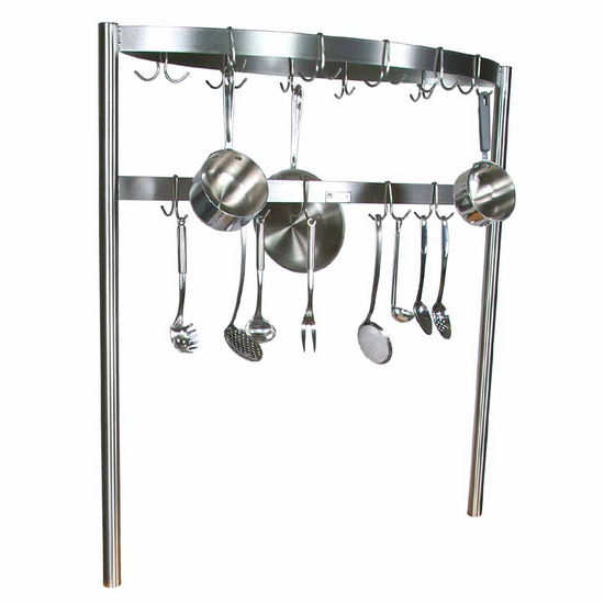 John Boos Boat Shaped Stainless Steel Pot Rack with Removable Hooks - Table Mount, Includes 30 Hooks