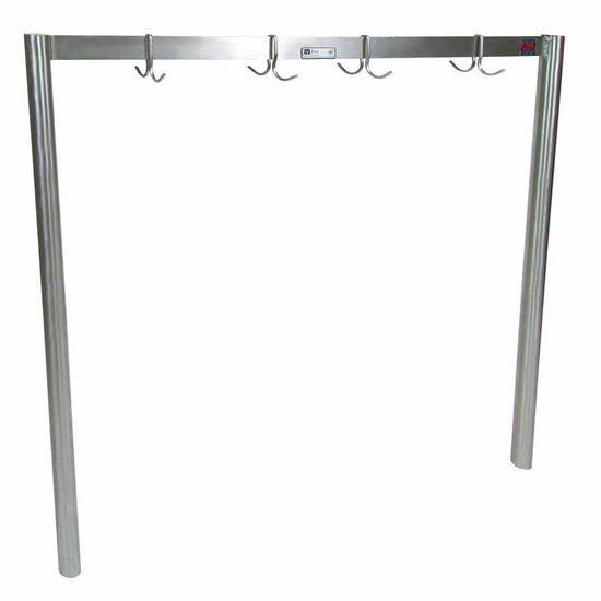 John Boos Single Bar Stainless Steel Pot Rack with Removable Hooks - Table Mount, Includes 10 Hooks